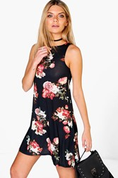 Boohoo Floral High Neck Swing Dress Black