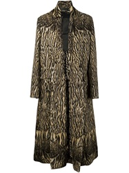 Haider Ackermann Tiger Print Long Coat Brown