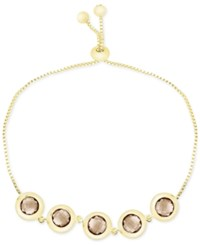Victoria Townsend Smokey Quartz Bezel Set Adjustable Bracelet 6 Ct. T.W. In 18K Gold Plated Sterling Silver Yellow Gold