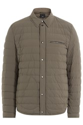 Vince Quilted Down Shirt Jacket Green