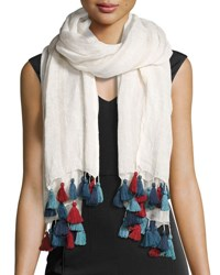 San Diego Hat Company Multicolor Tassel Long Scarf White