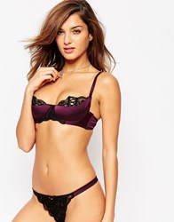 Asos Leanna Lace Up Satin Half Cup Moulded Underwire Bra Wine