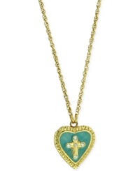 Vatican Gold Tone Crystal Turquoise Enamel Cross Of Glory Locket Necklace Green