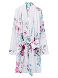 Joules Serena Floral Print Dressing Gown White Floral