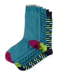 Men's Assorted Sock Three Pair Set Dot Stripe Mix Neiman Marcus
