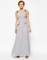 Little Mistress Chiffon Maxi Dress With Pleats And Embellished Shoulders Grey