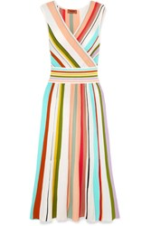 Missoni Wrap Effect Striped Cotton Midi Dress Pink