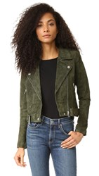 Blank Genuine Suede Moto Jacket Olive Juice