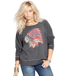 Denim And Supply Ralph Lauren Embellished Graphic Sweatshirt Heather Grey