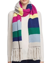 Aqua Striped Fringe Scarf 100 Bloomingdale's Exclusive Zest