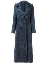 Twin Set Belted Long Coat Blue