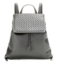 Bottega Veneta Intrecciato Leather Backpack Grey