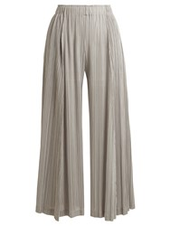 Issey Miyake Pleated Wide Leg Trousers Light Grey