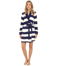 Betsey Johnson Cozy Sweater Robe Stripe Pristine Navy Seals Women's Robe Beige