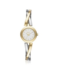 Dkny Crosswalk Round Dial Two Tone Stainless Steel Women's Watch Gold