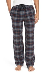 Nordstrom Men's Big And Tall Men's Shop Flannel Lounge Pants Grey Blue Red Plaid