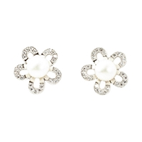 A B Davis Sterling Silver Freshwater Pearl Flower Earrings