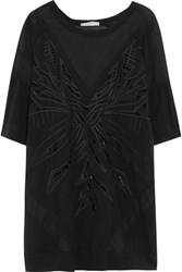 Iro Cutout Mesh Paneled Silk Blend Chiffon Top Black