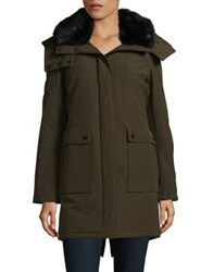 French Connection Faux Fur Accented Hooded Parka Black