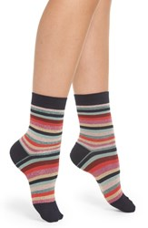 Paul Smith Clarissa Swirl Stripe Crew Socks Black
