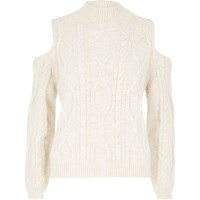 River Island Womens Cream Cold Shoulder Cable Knit Sweater