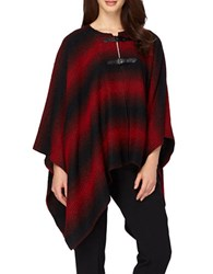 Tahari By Arthur S. Levine Double Buckle Poncho Red Black