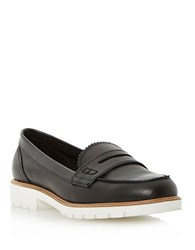 Dune Gleat Leather Loafers Black