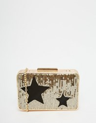 Glamorous Star Sequin Embellished Box Clutch Bag Gold