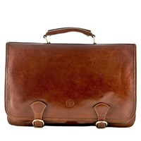 Maxwell Scott Bags Luxury Italian Leather Men's Satchel Briefcase Jesolo Classic Chestnut Tan Brown