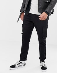 Brooklyn Supply Co. Co Carrot Fit Jeans With Cargo Pocket In Black