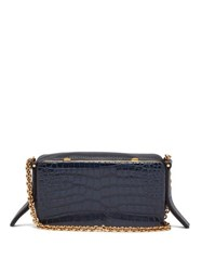 Lutz Morris Elise Crocodile Effect Leather Shoulder Bag Navy