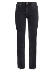 Mih Jeans Daily Raw Hem High Rise Straight Leg Dark Grey
