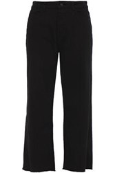 Dl1961 Woman Cropped High Rise Wide Leg Jeans Black