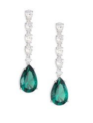 Adriana Orsini Linear Crystal Teardrop Earrings Silver Green