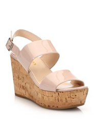 Prada Patent Leather Cork Platform Wedge Sandals Beige