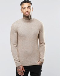 Asos Muscle Fit Turtleneck Sweater In Cotton Mustard Twist