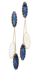 Theia Jewelry Lapis Drop Earrings Antique Gold Mother Of Pearl