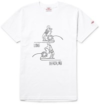 Battenwear Hang Five Oversized Printed Cotton Jersey T Shirt White