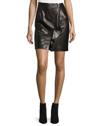Iro Tia Draped Leather Skirt Black