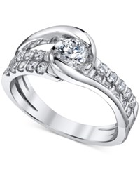 Sirena Diamond Two Row Engagement Ring 7 8 Ct. T.W. In 14K White Gold