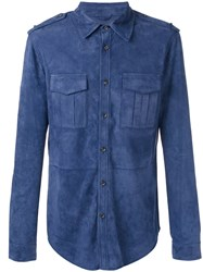 Desa 1972 Button Up Shirt With Epaulettes Blue