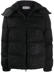 Valentino Floral Lace Zipped Puffer Jacket Black