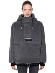 Gcds Hooded Faux Fur Anorak W Logo Patch Black