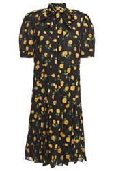 Michael Kors Collection Woman Pussy Bow Floral Print Crepe Dress Black