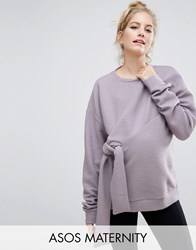 Asos Maternity Sweatshirt With Knot Detail And Texture Purple