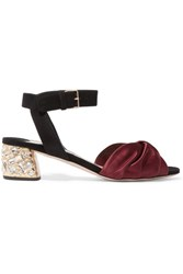 Miu Miu Crystal Embellished Knotted Satin And Suede Sandals Burgundy