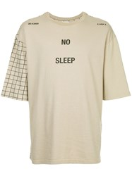 Ex Infinitas No Sleep Checked Sleeve T Shirt Brown
