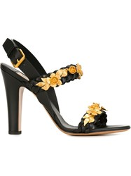 Valentino Garavani Flower Embellished Sandals Black
