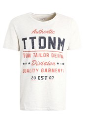 Tom Tailor Denim Crewneck Print Tshirt Ecru Melange Off White