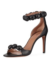 Alaia Bombe Stud Leather Ankle Wrap Sandals Black